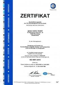 Zertifikat-DIN-ISO-9001-2015-2020 Gloss Matrix GmbH